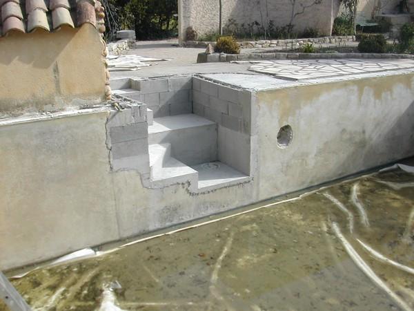 étanchéité après creation escalier extérieur au bassin